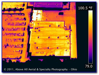 aerial thermal infrared image of the roof of a store showing water drainage paths