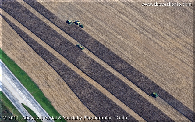 A more modern way to harvest corn - dual combines work together to harvest this field in southern Ohio