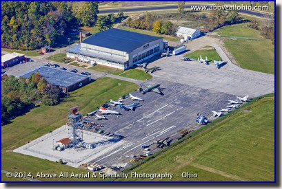 An aerial view of the MAPS Museum just west of the Akron-Canton Regional Airport (CAK), North canton, Ohio.
