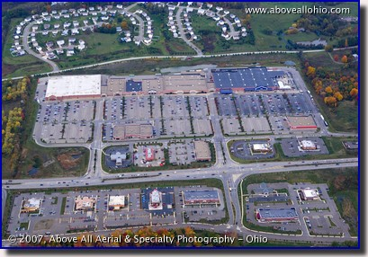 Aerial photograph of a retail shopping center near Pittsburgh, PA