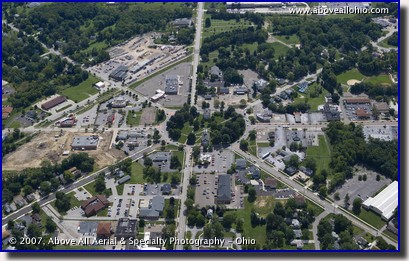 Aerial photograph of downtown Tallmadge, Ohio