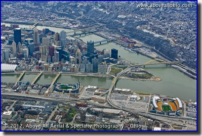 A wide angle aerial view of downtown Pittsburgh, Pennsylvania, looking south at the three-rivers area.