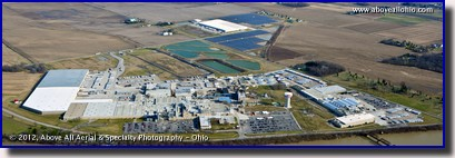A panoramic aerial view of the Campbell's Soup factory near Napoleon in northwestern Ohio