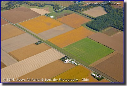 Aerial photo of fall fields in Ohio showing many different colors and textures.