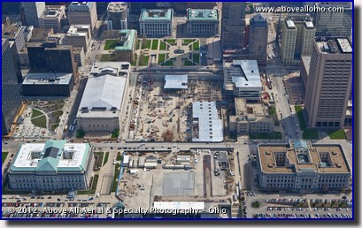 An aerial view of the new medical mart and convention center under construction in downtown Cleveland, Ohio