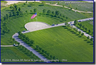 An aerial view of the huge American flag on Memorial Day, 2014, at the Western Reserve National Cemetery in Rittman, OH.