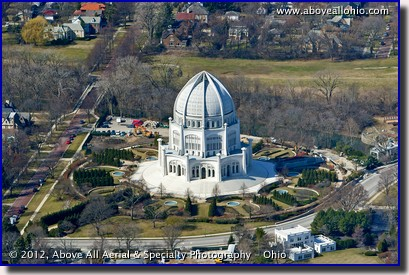 An oblique aerial photograph of the Baha'i House of worship, just north of Chicago, IL.