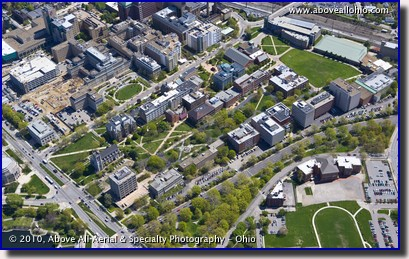 Aerial view of part of the Case Western Reserve University campus near Cleveland, OH