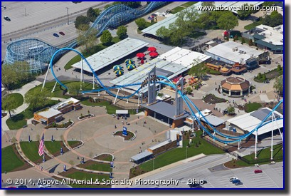 An aerial view of The GateKeeper roller coaster at Cedar Point in Sandusky, OH.