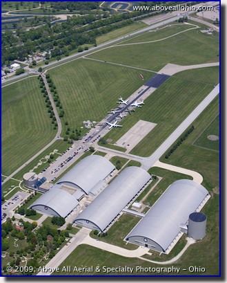 Aerial photograph of the Air Force Museum in Dayton, OH