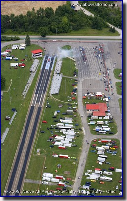Aerial photo of Quaker City Raceway dragstrip in Salem, Ohio