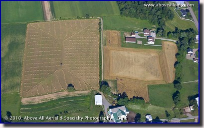 Aerial photograph of round hay bails in the fields in Ohio's Amish country