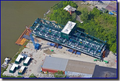 An overhead view of the main deck of a new draw bridge being installed in downtown Cleveland.