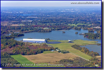 An aerial view of Goodyear's blimp base in Mogadore, Ohio and their newest blimp - Wingfoot One - shortly after landing.