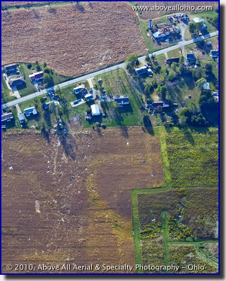 An aerial view of tornado damge near Wooster, OH.