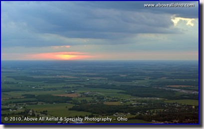 Aerial photograph of another beautiful sunset over Huron County in north central Ohio