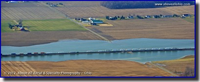 An unusual site of a train in water; near Bellevue, Ohio.