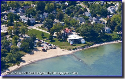An aerial view of a public beach and the Great Lakes Historical Society and and The Inland Seas Maritime Museum in Vermilion, Ohio