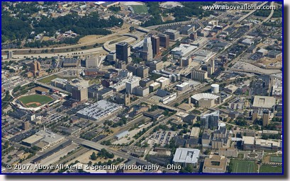 Aerial photograph of the skyline of downtown Akron, OH