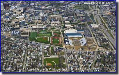 Aerial photo the University of Akron and downtown Akron, OH