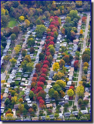Aerial photo - fall view of a neighborhood near Akron, OH