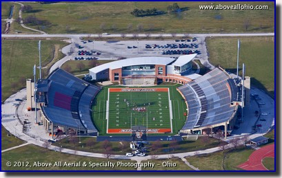 A low level aerial view of Bowling Green State University's football stadium, Bowling Green (near Toledo), OH.