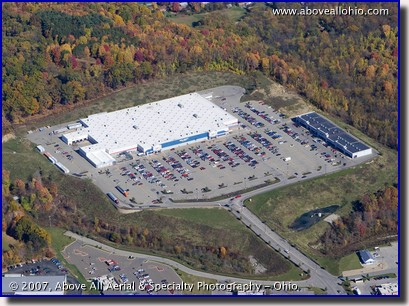 "Aerial photograph of a ""Big Box"" retail shopping center"