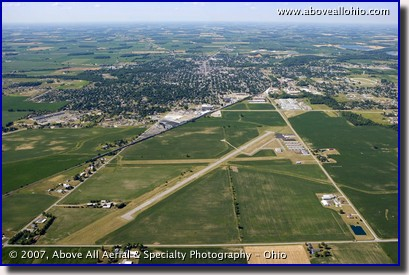 Aerial photo of the Port Bucyrus/Crawford County Airport and the city of Bucyrus, Ohio