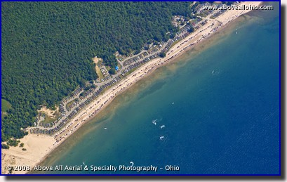 Aerial photo of a beach on the north side of Lake Erie, near Port Colborne, Ontario, Canada