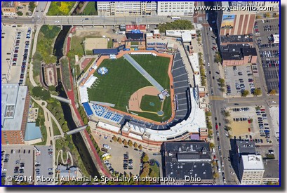 An aerial photo of Canal Park baseball stadium near downtown Akron, Ohio, being prepared as the Akron Marathon finish line.
