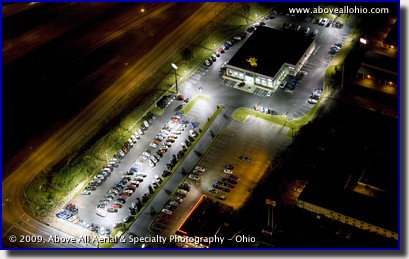Aerial photograph of a car lot at night in Medina, Ohio