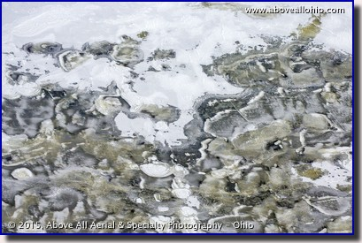 A close up view of strange ice patterns from high above a reservoir near Alliance, Ohio.