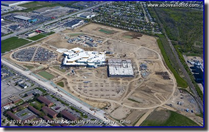 An aerial view of the Hollywood Casino, under construction in Columbus, Ohio.