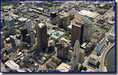 Aerial photograph of downtown Columbus, OH