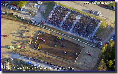 Aerial photograph of a demolition derby at the Deleware County (Ohio) fairgrounds
