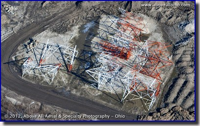 An aerial view of a radio tower awaiting erection near downtown Columbus, OH