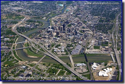 Aerial photo of downtown Dayton, Ohio