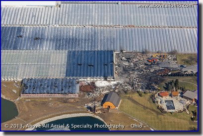 An aerial view of fire damage at a large greenhouse operation near Oberlin, Ohio.