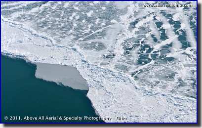 An aerial view of the patterns of ice on Lake Erie, north of Lakewood, OH