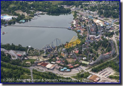 Aerial photograph of Geauga Lake amusement park near Aurora, OH