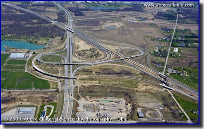 Aerial photo of the interchange construction at Interstates I-71 and I-76 in Ohio