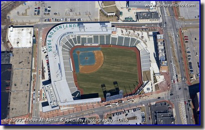 Aerial photo of the new baseball stadium in Columbus, Ohio. Huntington Park, home of the Clippers.