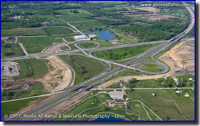 Aerial photo of construction of Interstate 71 and Interstate 76 in Ohio
