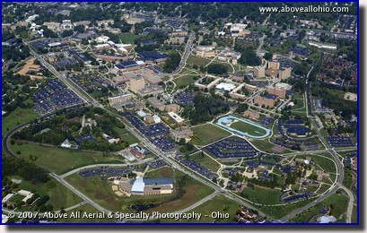 Aerial photograph of Kent State University Campus in Kent, OH