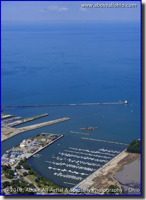Aerial photograph of Spitzer Lakseside Marina and Lake Erie; Lorain, OH