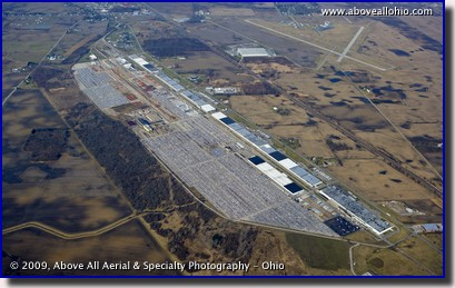Aerial photo of Schneider Trucking intermodal yard, part of the Marion (Ohio) Industrial Center