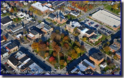 A late afternoon fall aerial view of The Square in downtown Medina, OH.