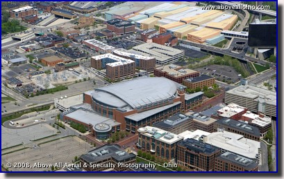 Aerial photo - Nationwide Arena, Columbus, Ohio - home of the NHL Blue Jackets