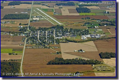 A distant aerial view of the Neil Armstrong Airport, near the astronaut's hometown of Wapakoneta, OH, in Auglaize County.