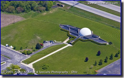 Aerial photo of the Neil Armstrong Air and Space Museum in Wapakoneta, Ohio